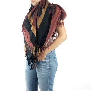 Black Floral Square Fringed Scarf